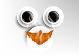 Vector isolated cup of coffee collection, smile with americano and croissant