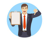 Businessman holding the clipboard showing thumb down gesture as rejection symbol - 162909581