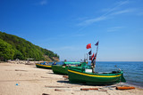 Baltic Sea Beach With Fishing Boats In Gdynia, Poland
