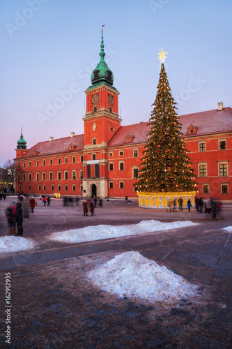 Royal Castle Square in Warsaw at Christmas, Poland
