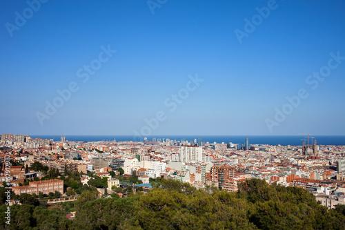 Plagát City of Barcelona Cityscape in Catalonia, Spain