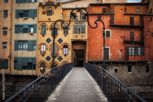 Aged Old Houses in city of Girona, Old Town, Gerona, Catalonia, Spain