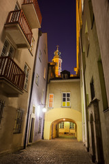 Old Town of Warsaw by Night in Poland