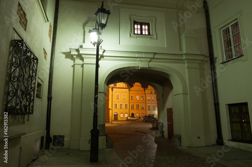 Night in Old Town of Warsaw