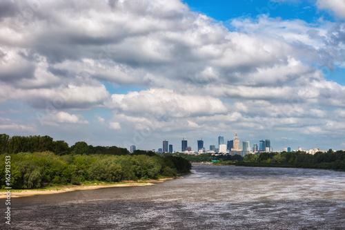 Vistula River and Warsaw City Skyline in Poland