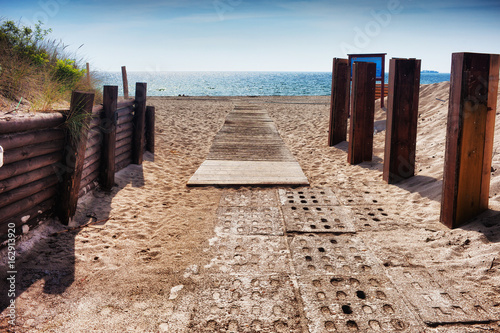 Baltic Sea Beach Walkway on Hel Peninsula in Poland