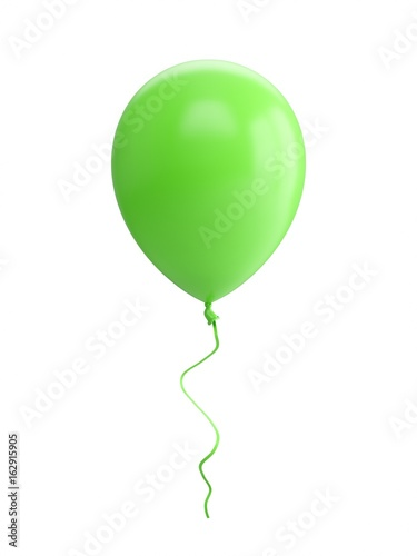 3D Rendering green Balloon Isolated on white Background