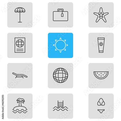 Vector Illustration Of 12 Season Icons Editable Pack Of Umbrella