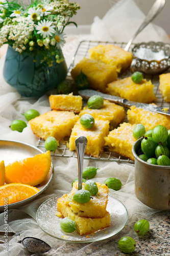 Gooseberry and orange drizzle cake