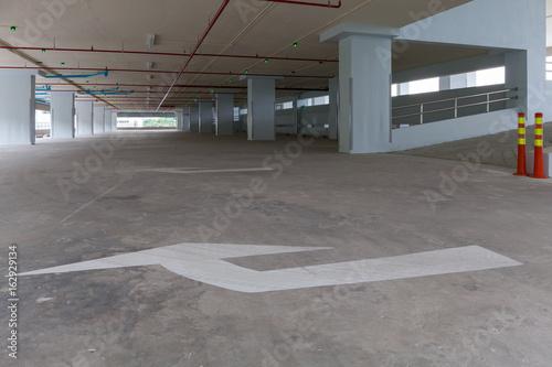 Parking garage interior, industrial building,empty space car park interior.
