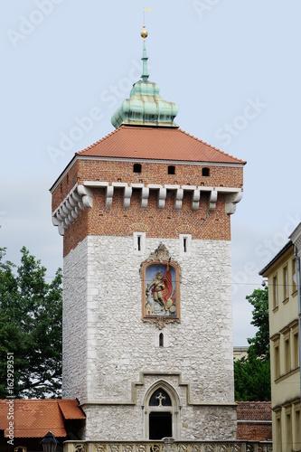 Porte Florian ou Brama Florianska à Cracovie en Pologne