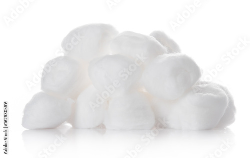 Cotton ball,cotton wool isolated on a white background