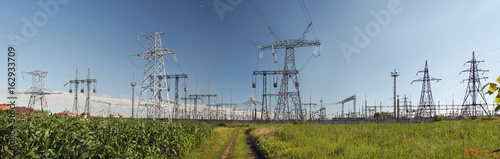 Staande foto Panoramafoto s Panorama of high voltage substation. Distribution electrical power.