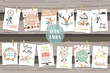 cute cards for banners,Flyers,Placards with feather,arrow,wreath,cage,flower and cake