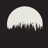 forest silhouette on moon background
