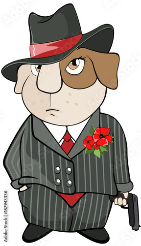 Illustration of a Guinea Pig Gangster. Cartoon Character