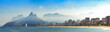 Quadro Panoramic landscape of the beaches of Arpoador, Ipanema and Leblon in Rio de Janeiro with sky and the hill Two brothers, Vidigal, and Gávea stone in the background