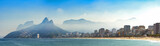 Panoramic landscape of the beaches of Arpoador, Ipanema and Leblon in Rio de Janeiro with sky and the hill Two brothers, Vidigal, and Gávea stone in the background - 162951711