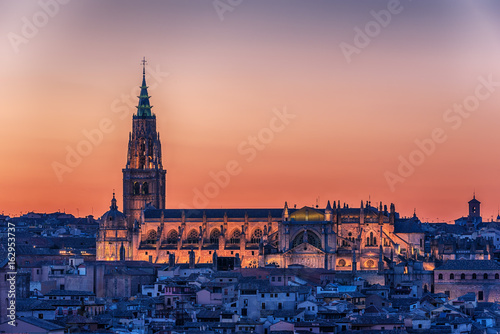 Aerial top view of Toledo, historical capital city of Spain. The cathedral.