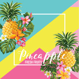 Tropical Pineapple Fruits and Flowers Summer Banner, Graphic Background, Exotic Floral Invitation, Flyer or Card. Modern Front Page in Vector - 162954335