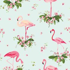 Flamingo Bird and Tropical Orchid Flowers Background. Retro Seamless Pattern in vector