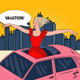 Fototapety Pop Art Happy Woman Standing in a Car Sunroof with Arms Wide Open in the City. Vector illustration