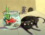 fish teasing cat whi...