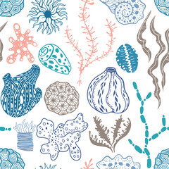 Vector seamless pattern with sea creations