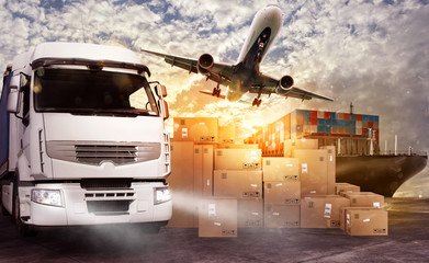 Truck, aircraft and cargo ship ready to start to deliver