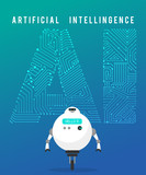 Artificial Intelligence And Smart Robot On Blue  Wall Sticker