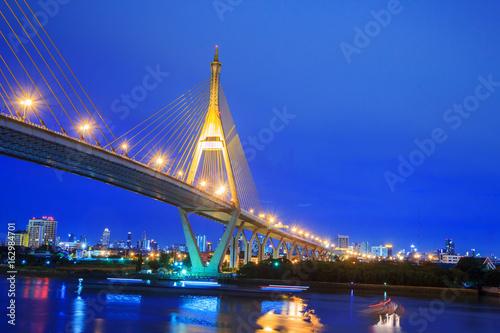 Beautiful Big Bhumibol Bridge and reflections of light / Big bridge at the river