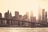 Manhattan at sunset, sepia toning applied, New York City, USA. - 162996319