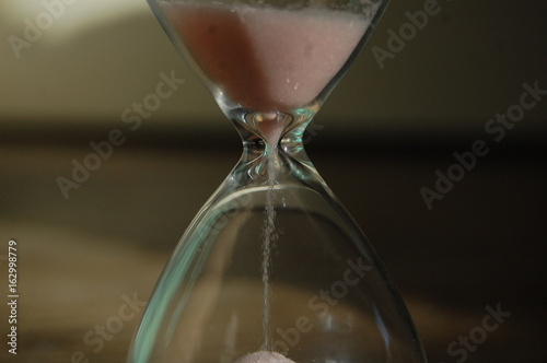 Sand falling in a sand glass