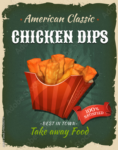 Retro Fast Food Chicken Dips Poster
