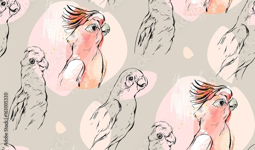 Hand drawn vector abstract textured graphic seamless pattern collage with exotic tropical parrots in pastel color isolated on pastel background - 163005330