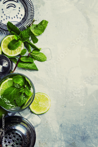 Ingredients for making mojito cocktail, food background, top view