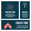 flat Set of card Circus people, animals, elements