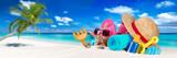 beach accessoires on coco palm beach sand vacation tourism concept background/  Urlaub panorama Strand konzept Sommer Meer Badesachen Seestern Muscheln Buchstaben panorama Hintergrund