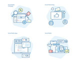 Set of concept line icons for social media, networking, marketing, campaign and apps. UI/UX kit for web design, applications, mobile interface, infographics and print design.  - 163009919