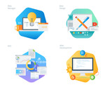 Material design icons set for web design and  development, SEO, web manager. UI/UX kit for web design, applications, mobile interface, infographics and print design.  - 163010573