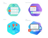 Material design icons set for time manager, news and events, meetup, task management, time tracking. UI/UX kit for web design, applications, mobile interface, infographics and print design.  - 163010594