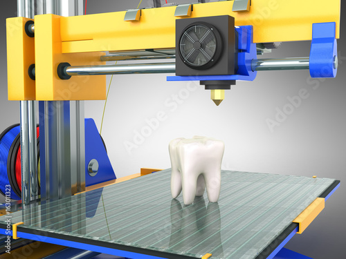 3d tooth printer 3d render on gray background