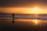 lonely person walking on beach at sunset