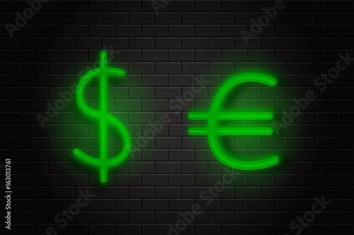 Vector isolated realistic neon signs of currency dollar and euro on the wall background for decoration and covering.