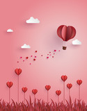 ...Greeting card of hot air balloon  fly over flower field ,concept of love and Valentine's Day.
