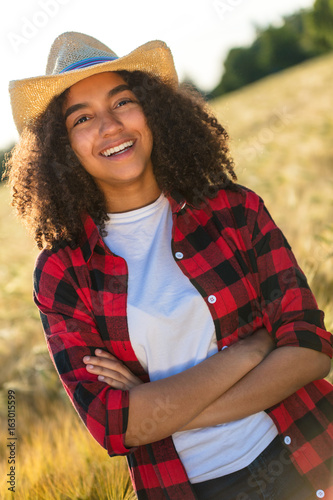 Happy Mixed Race African American Girl Female Young Woman Cowboy Hat