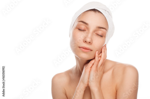 Woman in spa with eyes closed