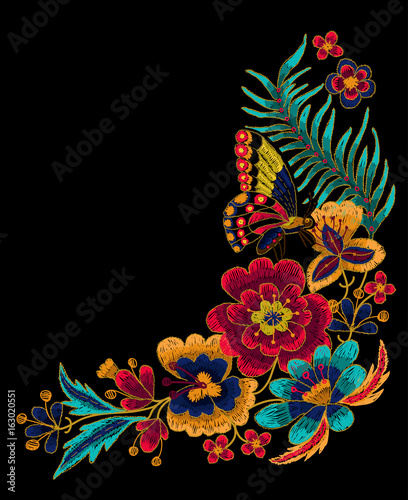 Butterfly with flowers vector embroidery. - 163020551