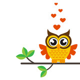 cartoon owl with heart on a branch