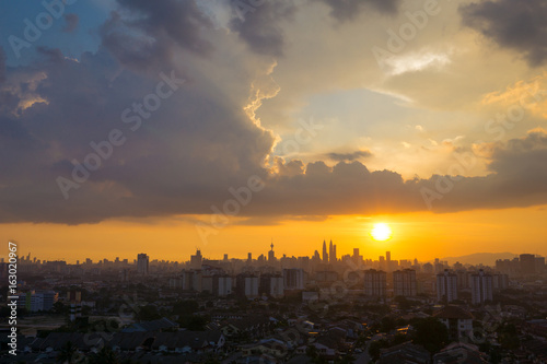 Poster View of majestic sunset over downtown Kuala Lumpur, Malaysia